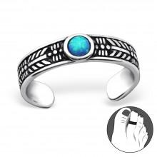 Zilveren Teenring Opal Seablue