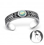 Zilveren Teenring Opal Fire Snow