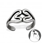 Zilveren Teenring Double Hearts