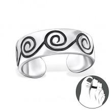Zilveren Teenring Spirals