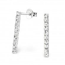 Zilveren Oorknopjes Crystal Bar