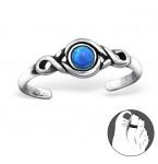 Zilveren Teenring Opal Dark Blue