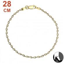 Zilveren Enkelbandje Diamond Cut Twisted 2tone Gold and Silver 28 cm.