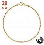 Zilveren Enkelbandje Diamond Cut Twisted Rope Gold 28 cm.
