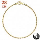Zilveren Enkelbandje Diamond Cut Twisted Rope Gold 28 cm.