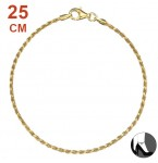 Zilveren Enkelbandje Diamond Cut Twisted Rope Gold 25.5 cm.