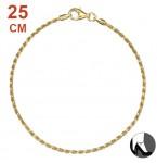Zilveren Enkelbandje Diamond Cut Twisted Rope Gold 25.5 cm.