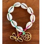 Armband Neon Cowrie Shells and Golden Charms