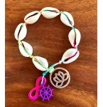 Armband Cowrie Shells and Neon Charms