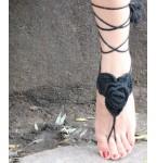 Barefoot Sandals Roses black