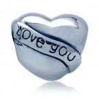Zilveren Bedel Hart met Love You