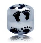 Zilveren Bedel Happy Feet Zwart