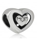 Zilveren Bedel Mom in a Heart