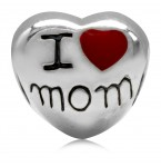 Zilveren Bedel I Love Mom heart