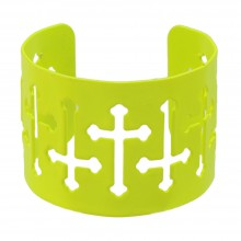 Neon Yellow Cuff Bracelet Crosses