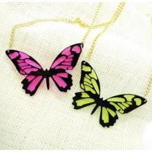 Neongele Vlinder Ketting