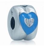 Zilveren Stopper Blauw Hart