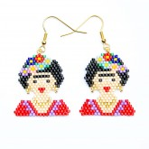 Oorbellen Frida Kahlo in beads