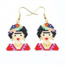 Oorbellen Frida Kahlo in beads