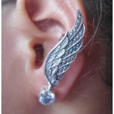 Zilveren Earcuff Angelwing White