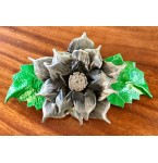 Haarclip Grey Flower of Leather