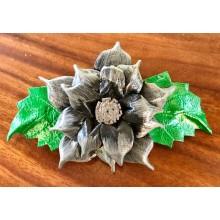 Haarclip Grey Flower of Leather