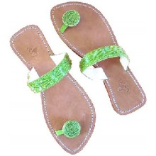 Lederen Slippers Ibiza Sunset Green