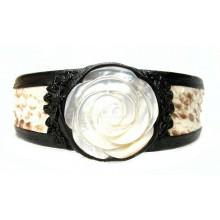 Lederen Armband Pearly Rose