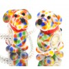 Murano Glasbedel Hond met Regenboogkleurtjes