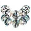 Zilveren Bedel Zwarte en Regenboog Kristallen