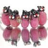 Murano Glasbedel Ondeugende Kat roze