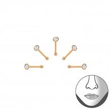 Zilveren set Neuspiercings 5 delig Rosegold 1.2 mm