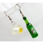 Oorbellen Bierfles en glas