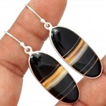 Zilveren Oorbellen Layers in Black Agate