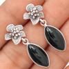 Zilveren Oorbellen Onyx and Flowers