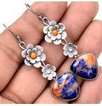Zilveren Oorbellen Sodalite ad Flowers