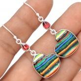 Zilveren Oorbellen Rainbow Hearts