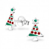 Zilveren Oorbellen Christmas Tree