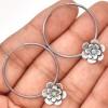 Zilveren Oorringen Opal Flowers