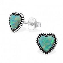 Zilveren Oorstekers Opal Heart