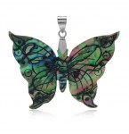 Zilveren Kettinghanger Abalone Butterfly