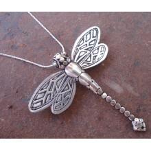 Zilveren Ketting met Kettinghanger/Broche Dragonfly