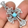 Zilveren Kettinghanger Celtic Cross Larimar