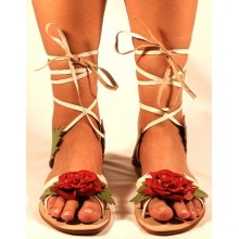 Lederen Sandalen Red Rose flat