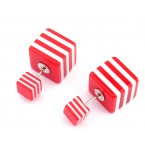 Double Dots Striped Red & White Squares