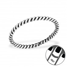 Zilveren Midi Ring Twisted Rope