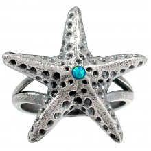 Zilveren Ring Starfish and Opal