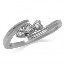 Zilveren Ring Triple Hearts