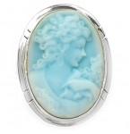 Zilveren Ring Camee Vrouw Blauw