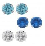 Zilveren Set Oorbellen Blauw en Wit